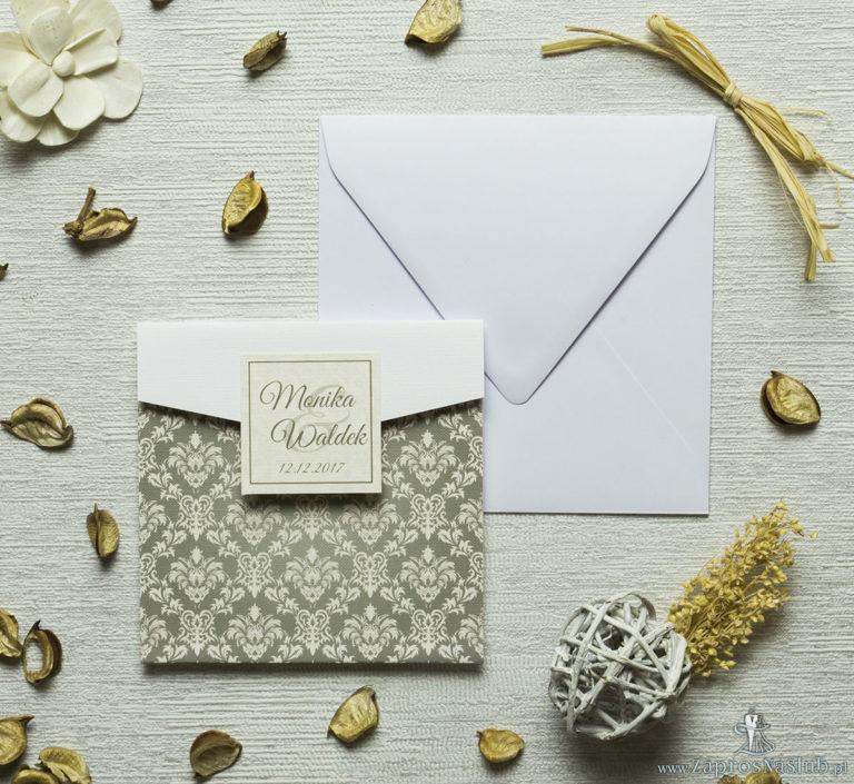 Zaproszenia ślubne z brązowo-kremowym motywem barokowym w kształcie koperty. ZAP-15-09 - ZaprosNaSlub