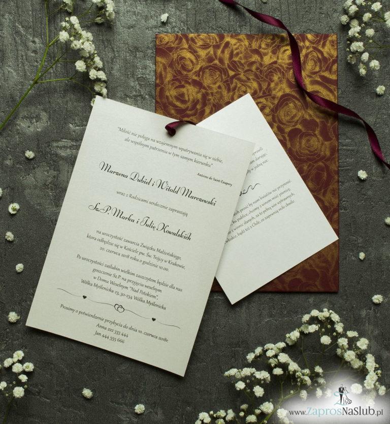 Zaproszenia ślubne w kopercie z motywem bordowo-złotych róż. ZAP-62-52 - ZaprosNaSlub