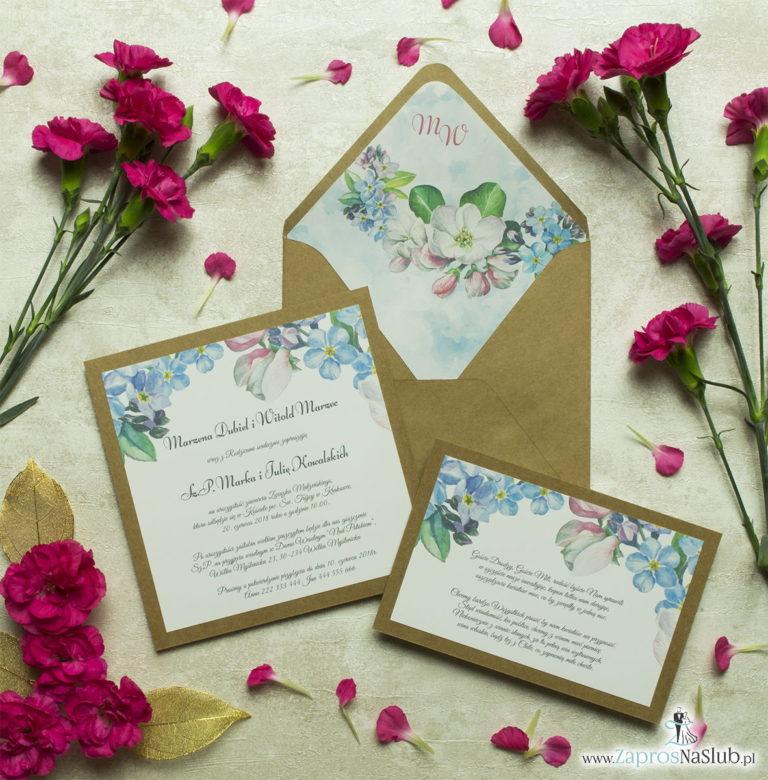 Dwuczęściowe, kwiatowe zaproszenia ślubne w stylu eko, z niezapominajkami i kwiatami jabłoni. ZAP-76-01 - ZaprosNaSlub