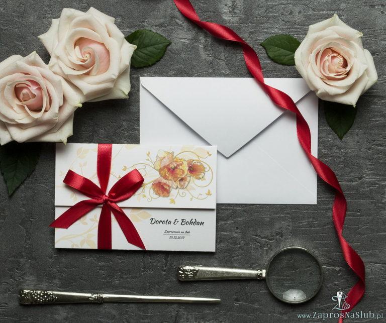 ZaprosNaSlub - Zaproszenia ślubne, personalizowane, boho, rustykalne, kwiatowe księga gości, zawieszki na alkohol, winietki, koperty, plany stołów - Unikatowe zaproszenia ślubne z kwiatami. Czerwone maki i wstążka w zbliżonym kolorze. ZAP-93-03