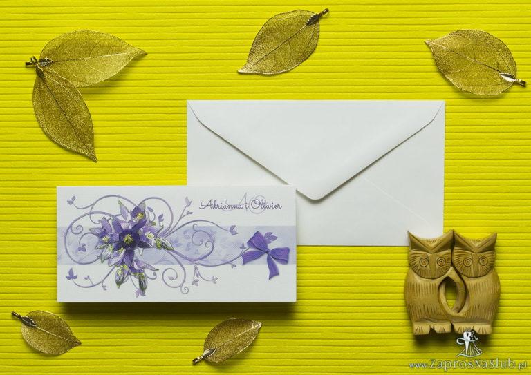 ZaprosNaSlub - Zaproszenia ślubne, personalizowane, boho, rustykalne, kwiatowe księga gości, zawieszki na alkohol, winietki, koperty, plany stołów - Nietuzinkowe kwiatowe zaproszenia ślubne z fioletowymi kwiatami i motywem ozdobnym. ZAP-94-04