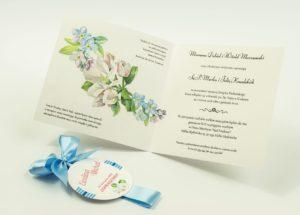 Zaproszenia kwiatowe - wianek z niezapominajkami i kwiatami jabłoni. ZAP-54-01