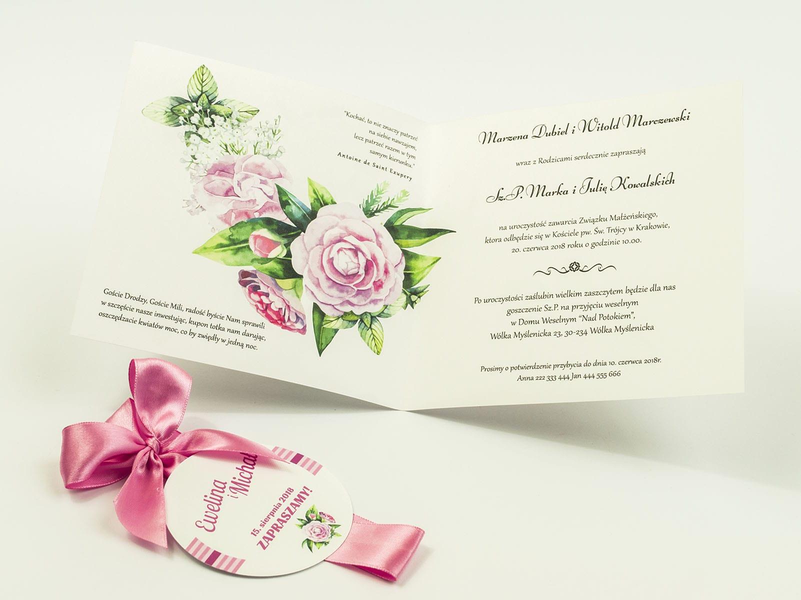 Zaproszenia kwiatowe - wianek z zielonymi liśćmi i kwiatami piwonii. ZAP-54-03