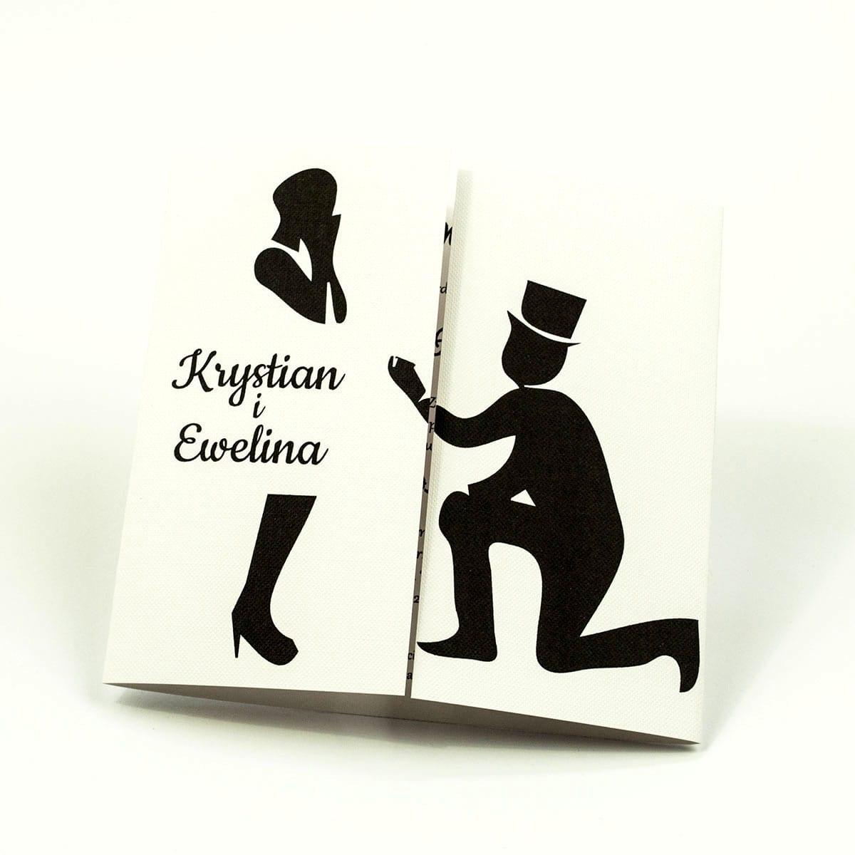 Urocze czarno-białe zaproszenia ślubne z motywem zaręczynowym. ZAP-55-01