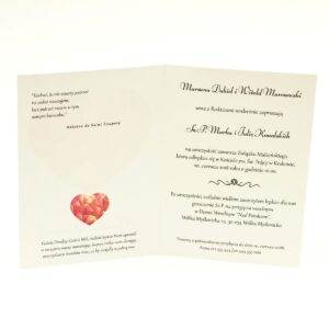 Klasyczne zaproszenia ślubne z sercem w odcieniach czerwieni. ZAP-57-03