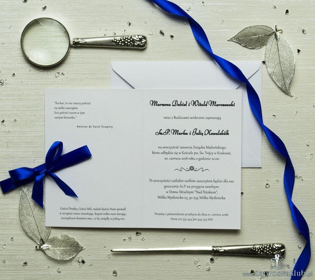 zap-58-01 Fotozaproszenia - zaproszenia ślubne ze zdjęciem i granatową kokardką (kolor kokardki dowolny). Kolekcja Foto - wnętrze