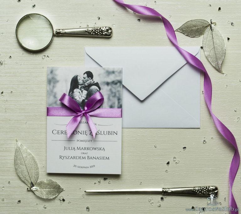 zap-58-01 Fotozaproszenia - zaproszenia ślubne ze zdjęciem i różową kokardką (kolor kokardki dowolny). Kolekcja Foto