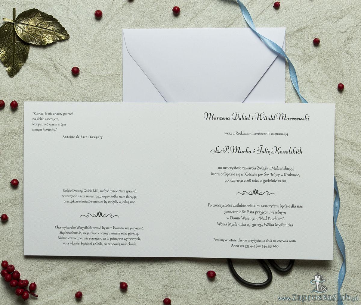 Zaproszenia designerskie - błękitno-biały ornament florystyczny z trójbarwnym motywem kwiatowym oraz satynową kokardką. ZAP-11-10