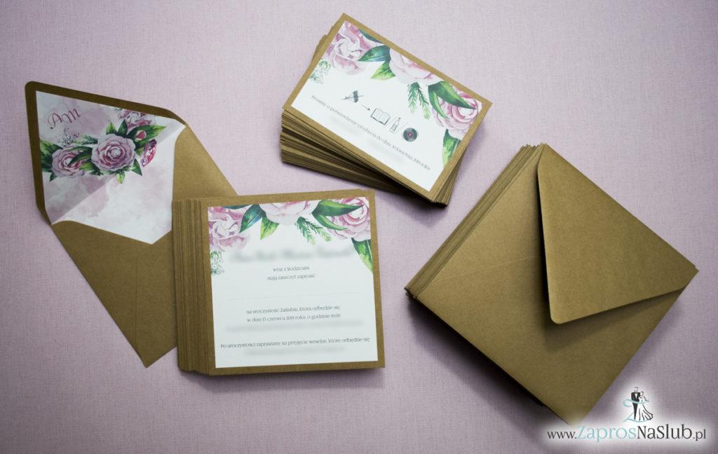 Dwuczęściowe, kwiatowe zaproszenia ślubne w stylu eko, z zielonymi liśćmi i kwiatami piwonii. ZAP-76-03 (1)