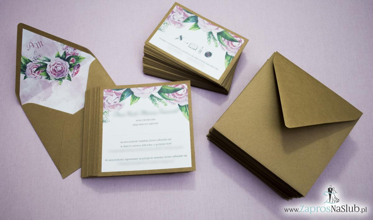 Dwuczęściowe, kwiatowe zaproszenia ślubne w stylu eko, z zielonymi liśćmi i kwiatami piwonii. ZAP-76-03