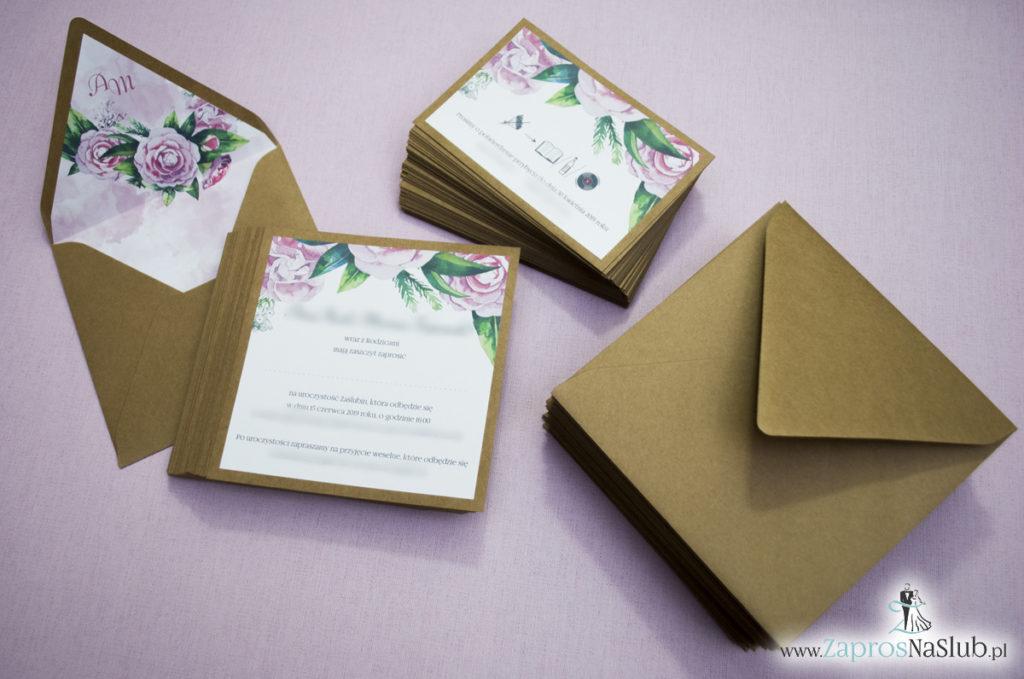 Dwuczęściowe, kwiatowe zaproszenia ślubne w stylu eko, z zielonymi liśćmi i kwiatami piwonii. ZAP-76-03 (3)