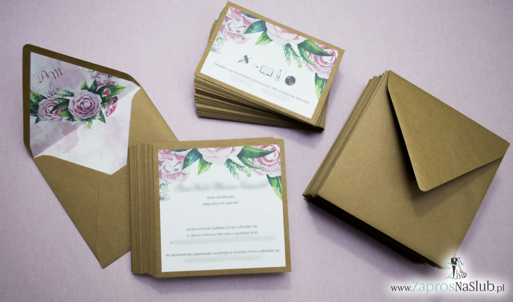 Dwuczęściowe, kwiatowe zaproszenia ślubne w stylu eko, z zielonymi liśćmi i kwiatami piwonii. ZAP-76-03 (4)