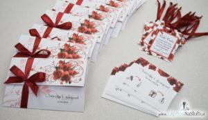 Unikatowe zaproszenia ślubne z kwiatami. Czerwone róże i wstążka w bordowym kolorze. ZAP-93-06 (1)