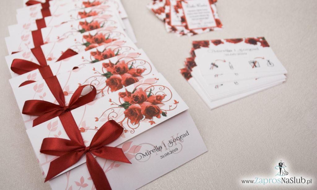 Unikatowe zaproszenia ślubne z kwiatami. Czerwone róże i wstążka w bordowym kolorze. ZAP-93-06 (2)