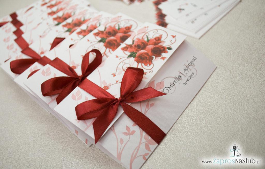 Unikatowe zaproszenia ślubne z kwiatami. Czerwone róże i wstążka w bordowym kolorze. ZAP-93-06 (3)