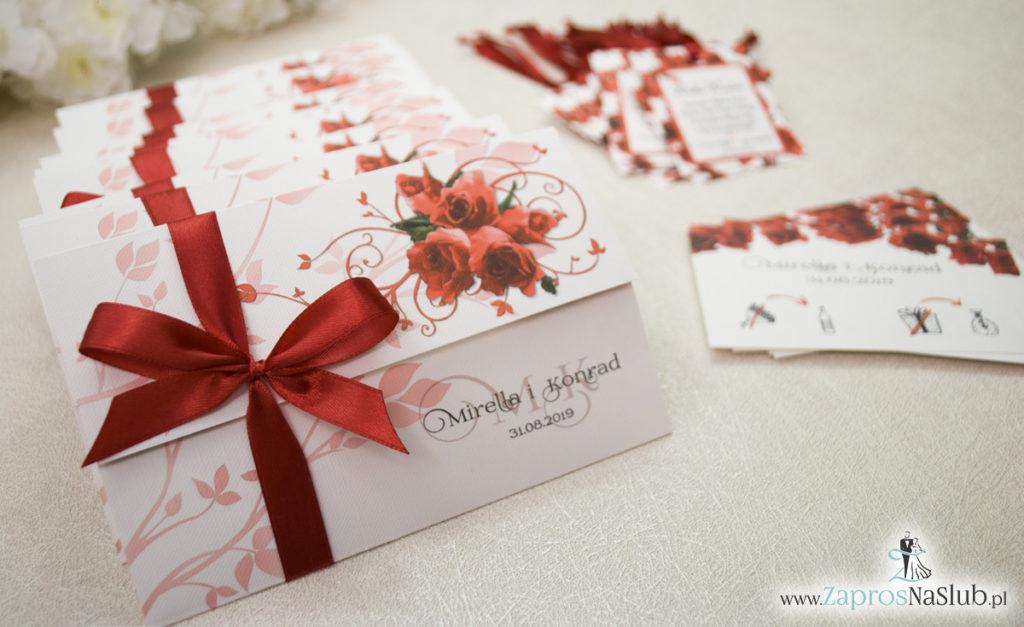 Unikatowe zaproszenia ślubne z kwiatami. Czerwone róże i wstążka w bordowym kolorze. ZAP-93-06 (6)