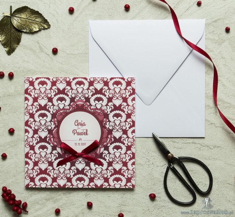 ZaprosNaSlub - Zaproszenia ślubne, personalizowane, boho, rustykalne, kwiatowe księga gości, zawieszki na alkohol, winietki, koperty, plany stołów - Zaproszenia designerskie – czerwono-biały ozdobny ornament z trójbarwnym motywem kwiatowym oraz satynową kokardką. ZAP-11-11