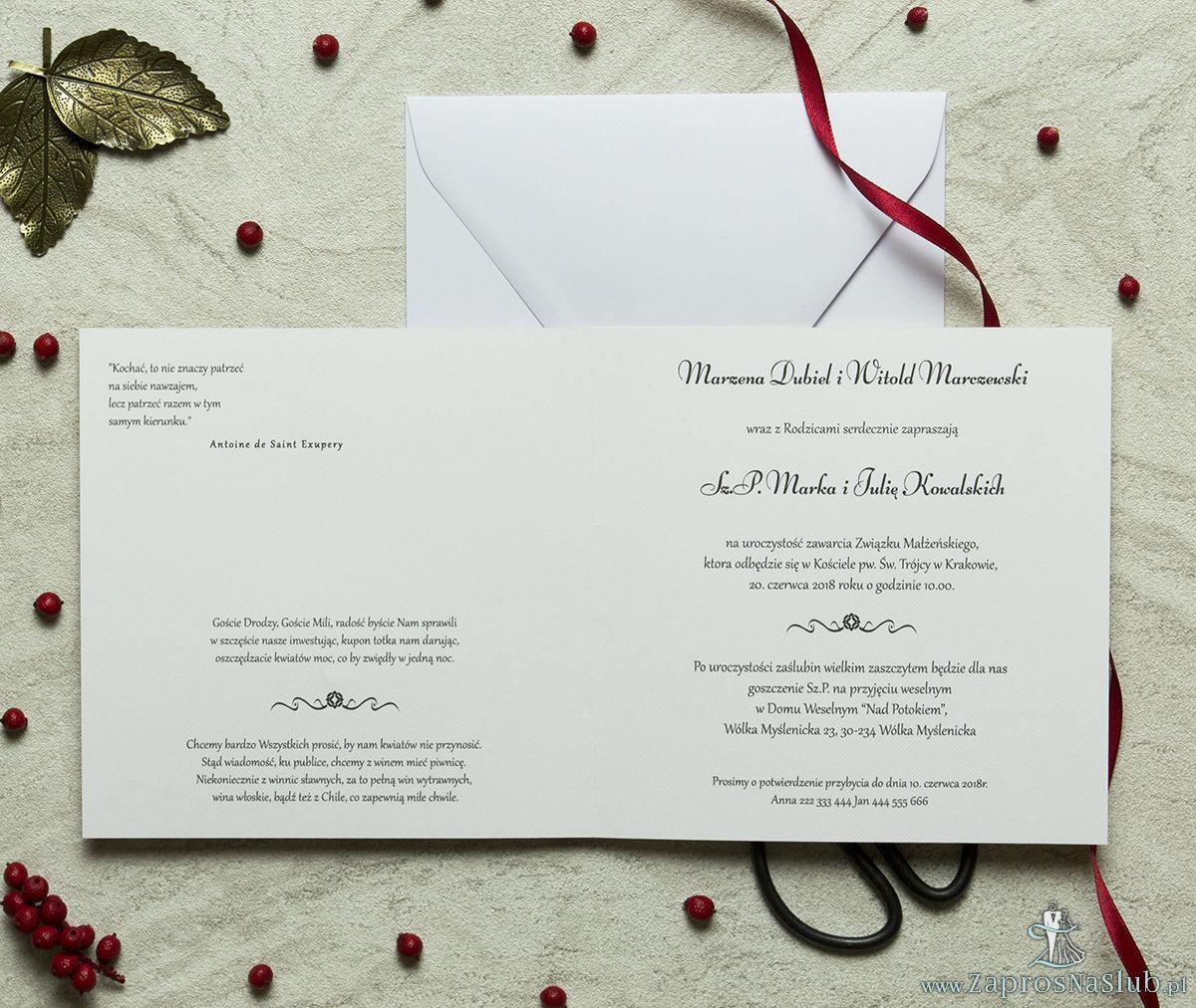 Zaproszenia designerskie - czerwono-biały ozdobny ornament z trójbarwnym motywem kwiatowym oraz satynową kokardką. ZAP-11-11