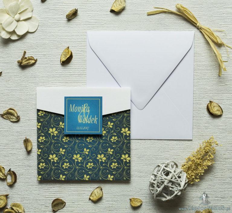 Zaproszenia z żółto-zielonym motywem kwiatowym w kształcie koperty. ZAP-15-01 - ZaprosNaSlub