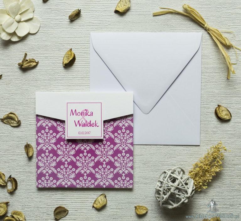 ZaprosNaSlub - Zaproszenia ślubne, personalizowane, boho, rustykalne, kwiatowe księga gości, zawieszki na alkohol, winietki, koperty, plany stołów - Zaproszenia z różowo-białym motywem florystycznym w kształcie koperty. ZAP-15-02