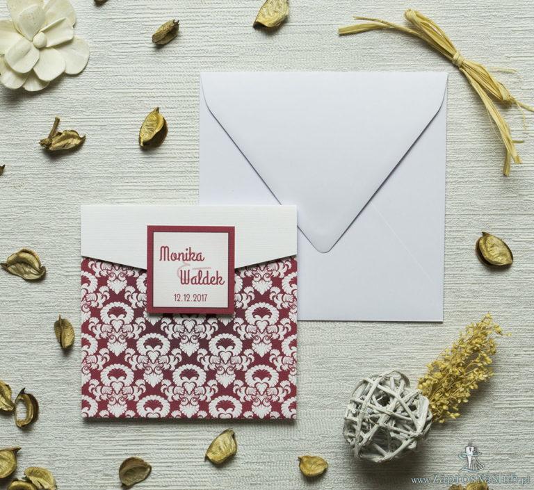 ZaprosNaSlub - Zaproszenia ślubne, personalizowane, boho, rustykalne, kwiatowe księga gości, zawieszki na alkohol, winietki, koperty, plany stołów - Zaproszenia z czerwono-białym ozdobnym ornamentem w kształcie koperty. ZAP-15-11
