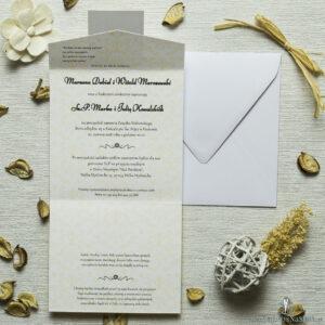 Zaproszenia z żółto-białą dekoracją w kształcie koperty. ZAP-15-15