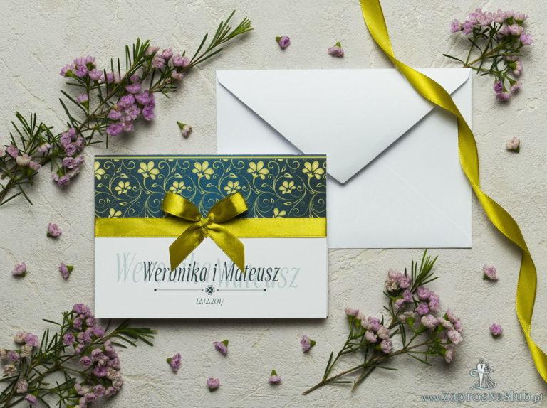 ZaprosNaSlub - Zaproszenia ślubne, personalizowane, boho, rustykalne, kwiatowe księga gości, zawieszki na alkohol, winietki, koperty, plany stołów - Zaproszenia z żółto-zielonym motywem roślinnym, satynową wstążką oraz kokardką. ZAP-17-01
