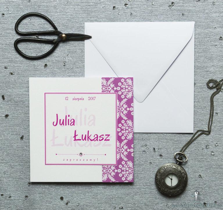 ZaprosNaSlub - Zaproszenia ślubne, personalizowane, boho, rustykalne, kwiatowe księga gości, zawieszki na alkohol, winietki, koperty, plany stołów - Rozkładane na trzy części zaproszenie z różowo-białym motywem florystycznym i cyrkonią. ZAP-24-02