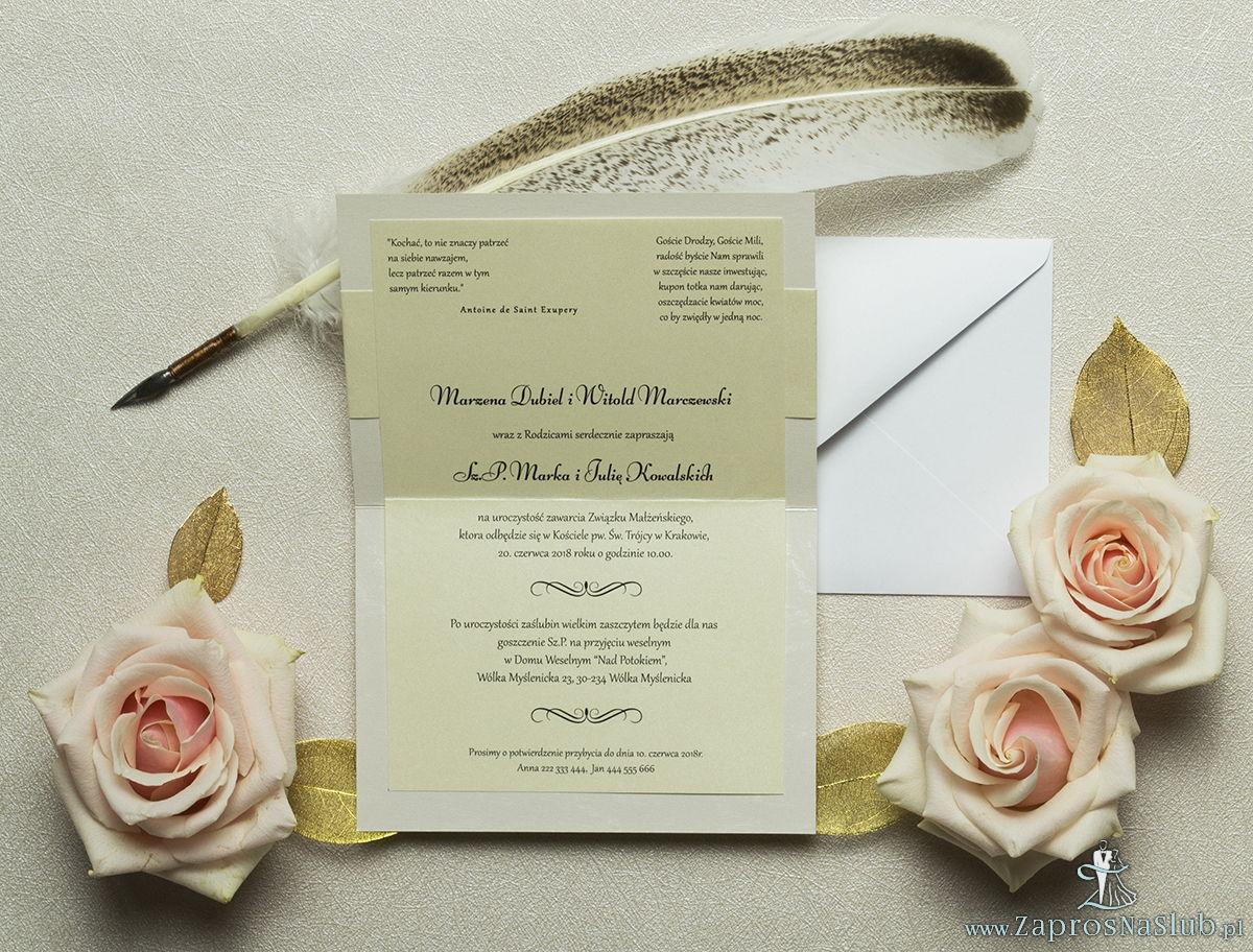 Wykonane na perłowym papierze z tłoczeniami przypominającymi mróz, eleganckie zaproszenia ślubne z motywem tekstowym na papierze perłowym. ZAP-52-36