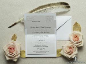 Wykonane na srebrnym papierze z paskami, eleganckie zaproszenia ślubne z motywem tekstowym na papierze perłowym. ZAP-52-92