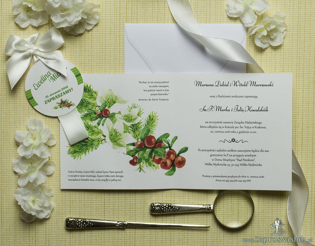Zaproszenia kwiatowe - zimowy wianek z bukszpanem, igłami świerku oraz białymi kwiatami. ZAP-54-05