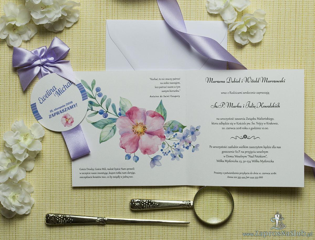 Zaproszenia kwiatowe - letni wianek z różowymi i fioletowymi kwiatami oraz jagódkami. ZAP-54-12