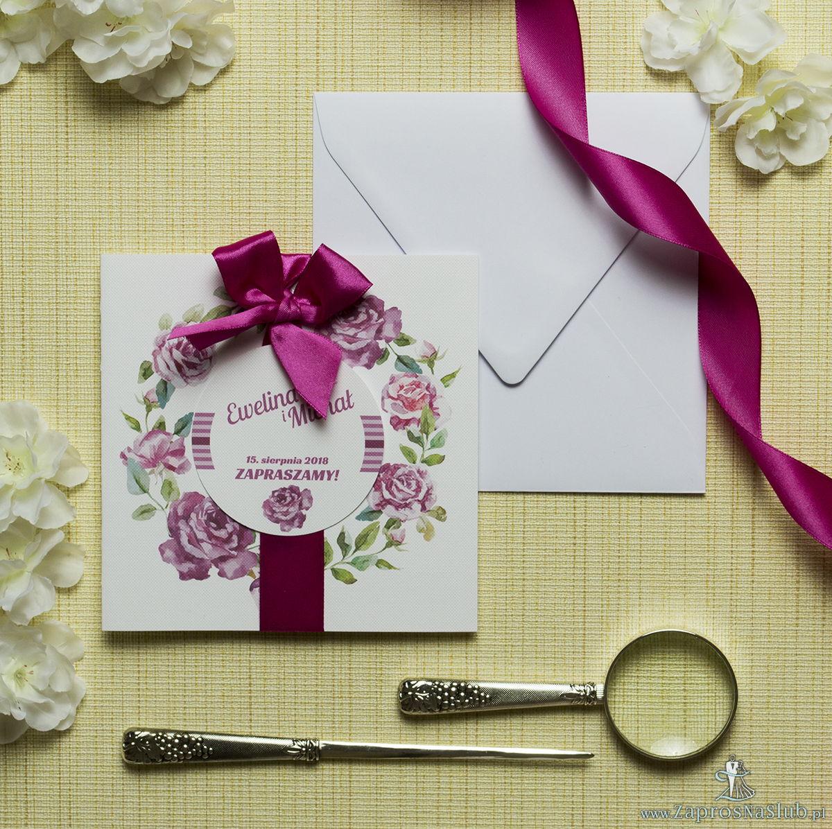 Zaproszenia kwiatowe - letni wianek z kwiatami róży. ZAP-54-16
