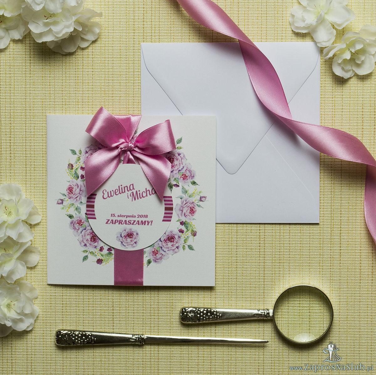 Zaproszenia kwiatowe - letni wianek z kwiatami oraz pąkami jasnoróżowych róż. ZAP-54-18
