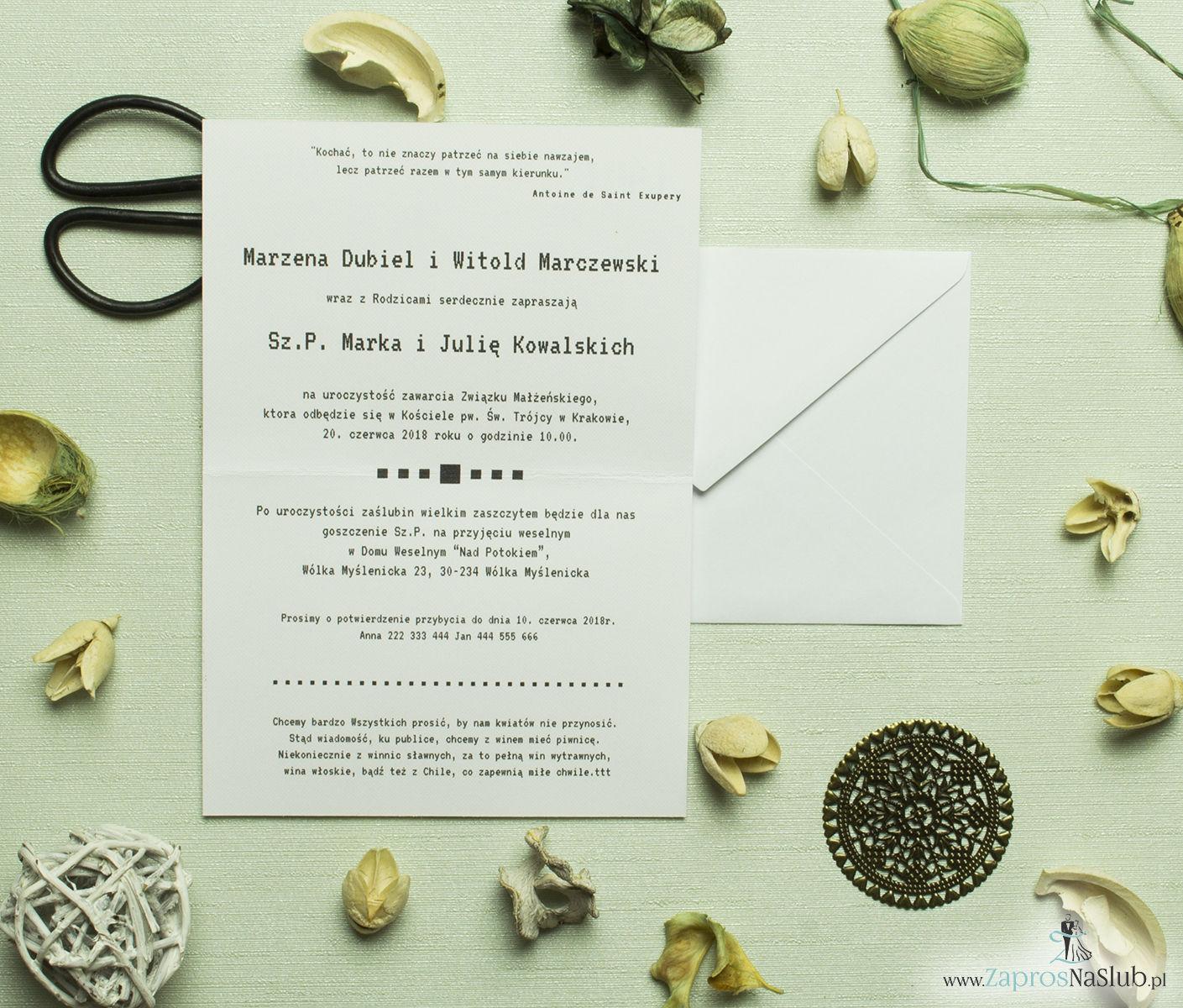 Klasyczne zaproszenia ślubne z pixelowanym obrazkiem przedstawiającym parę. Idealne dla osób z IT. ZAP-56-04