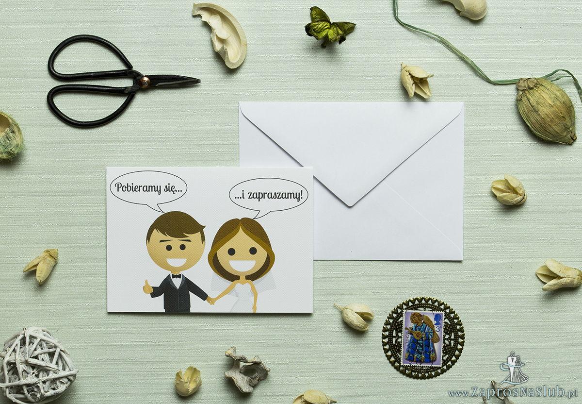 Zaproszenie ślubne z młodą parą oraz z humorystycznym obrazkiem przedstawiającym uśmiechniętą parę trzymającą się za ręce i zapraszającą na swój ślub. Kolekcja Clasico