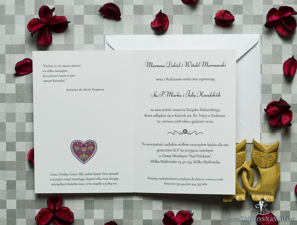 Klasyczne zaproszenia ślubne z kolorowym, folkowym sercem. ZAP-57-02