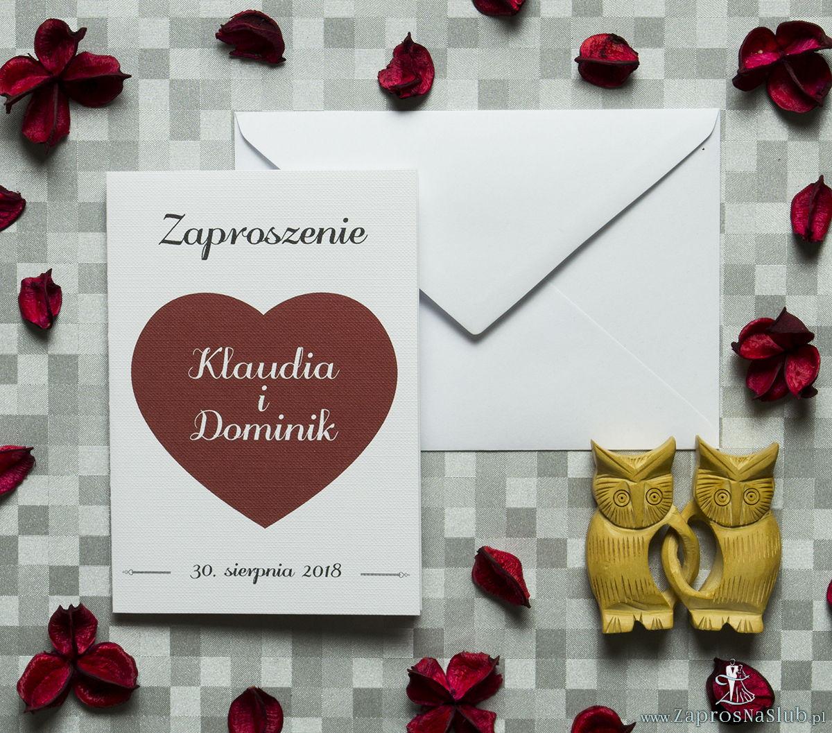 Klasyczne zaproszenia ślubne z czerwonym sercem. ZAP-57-05