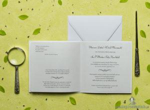 Przepiękne zimowe zaproszenia ślubne z biało-szaro-srebrnymi płatkami śniegu oraz z cyrkonią. ZAP-60-08