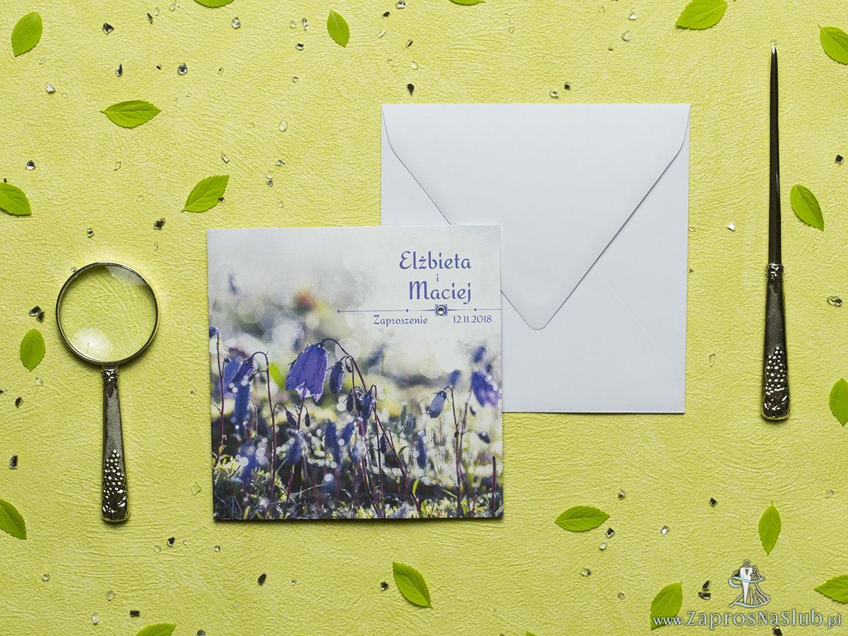 Przepiękne wiosenne zaproszenia ślubne z fioletowymi kwiatami dzwonka karpackiego na tle mchu oraz z cyrkonią. ZAP-60-09