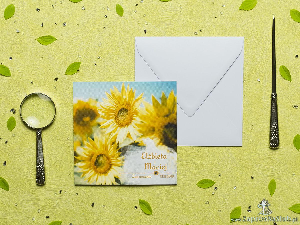 Przepiękne letnie zaproszenia ślubne z żółtymi kwiatami słoneczników oraz z cyrkonią. ZAP-60-10