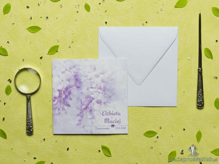 ZaprosNaSlub - Zaproszenia ślubne, personalizowane, boho, rustykalne, kwiatowe księga gości, zawieszki na alkohol, winietki, koperty, plany stołów - Przepiękne wiosenne zaproszenia ślubne z różowymi kwiatami łubinu oraz z cyrkonią. ZAP-60-11