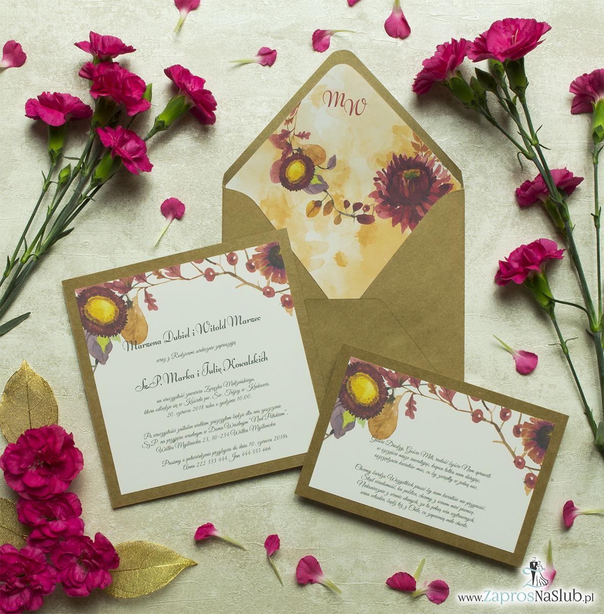 Dwuczęściowe, kwiatowe zaproszenia ślubne w stylu eko, z jesiennymi kwiatami, liśćmi dębu oraz jarzębiną. ZAP-76-02