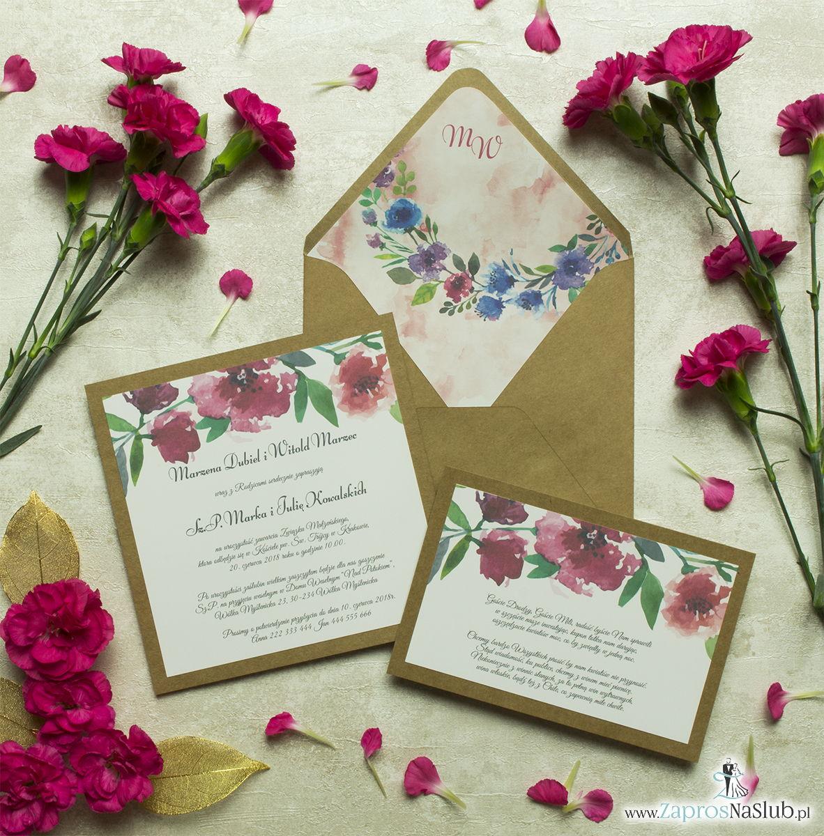 Dwuczęściowe, kwiatowe zaproszenia ślubne w stylu eko, z polnymi kwiatami - makami i chabrami. ZAP-76-04