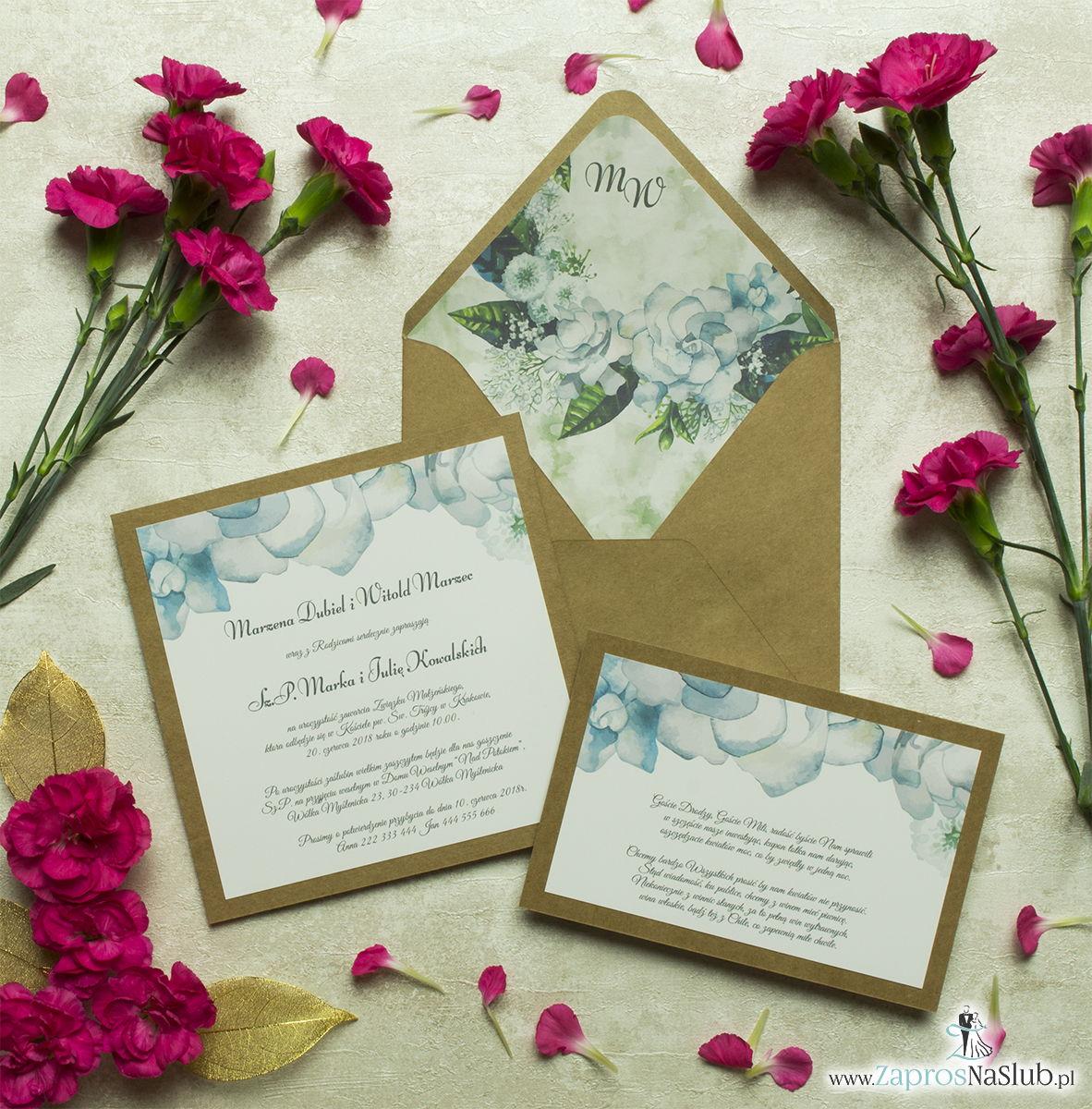 Dwuczęściowe, kwiatowe zaproszenia ślubne w stylu eko, z białymi kwiatami oraz ciemnozielonymi liśćmi. ZAP-76-07