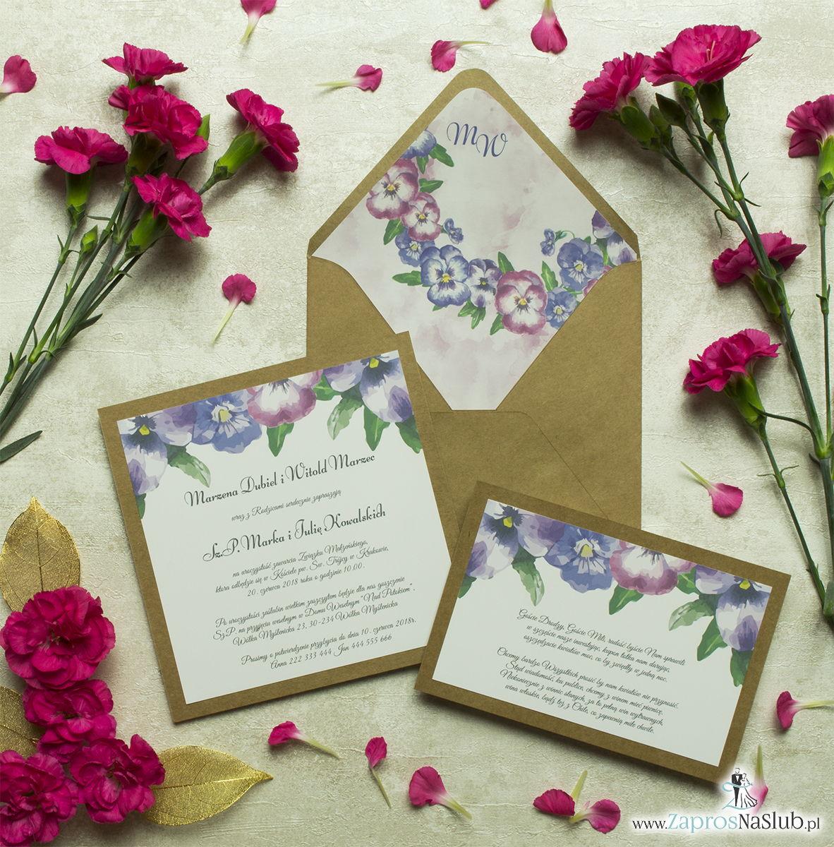Dwuczęściowe, kwiatowe zaproszenia ślubne w stylu eko, z kwiatami bratków w dwóch kolorach. ZAP-76-08