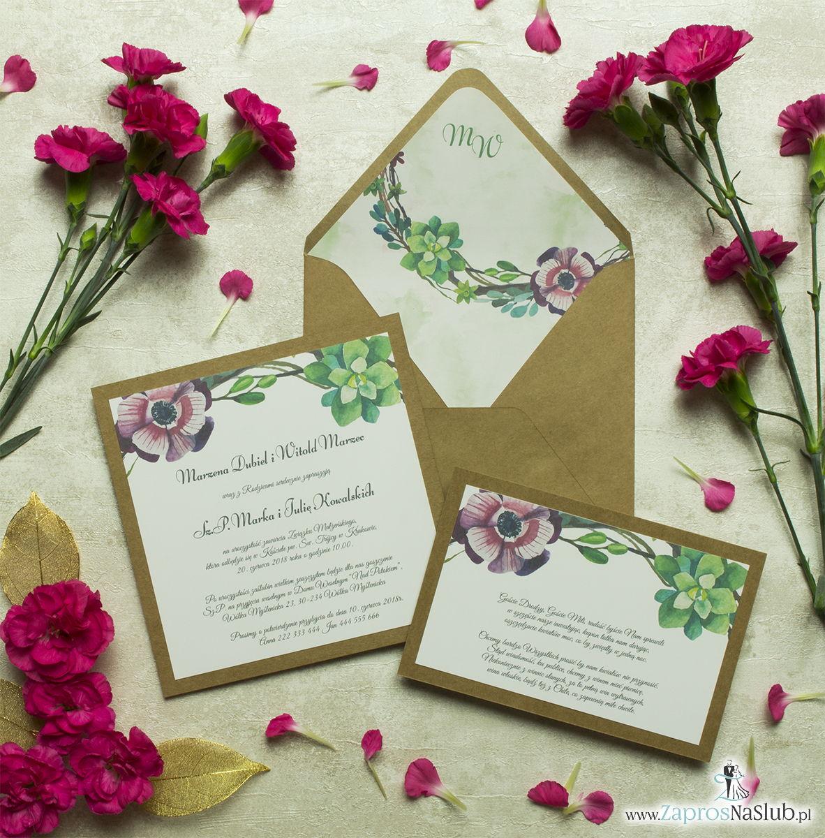 Dwuczęściowe, kwiatowe zaproszenia ślubne w stylu eko, z zielonymi sukulentami oraz różowymi kwiatami. ZAP-76-09