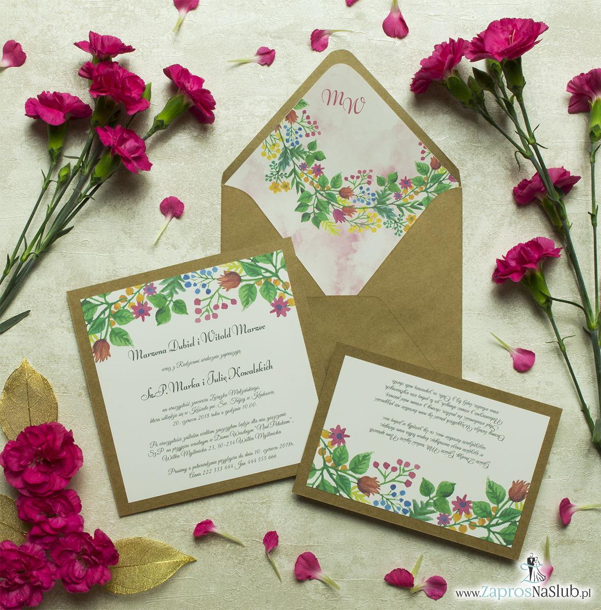 Dwuczęściowe, kwiatowe zaproszenia ślubne w stylu eko, z wielobarwnymi, wiosennymi kwiatami i liśćmi. ZAP-76-10