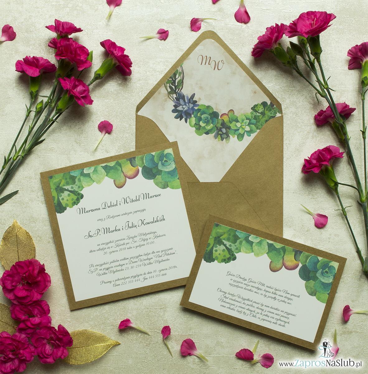 Dwuczęściowe, kwiatowe zaproszenia ślubne w stylu eko, z kilkoma rodzajami sukulentów. ZAP-76-15