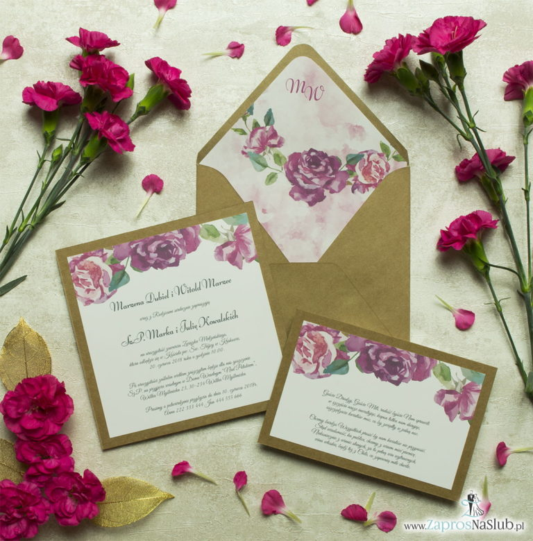 Dwuczęściowe, kwiatowe zaproszenia ślubne w stylu eko, z kwiatami róży